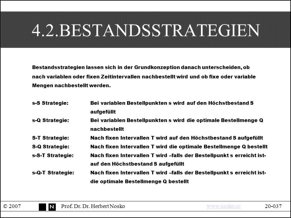 4.2.BESTANDSSTRATEGIEN © 2007Prof. Dr. Dr. Herbert Noskowww.nosko.cc20-037www.nosko.cc Bestandsstrategien lassen sich in der Grundkonzeption danach un