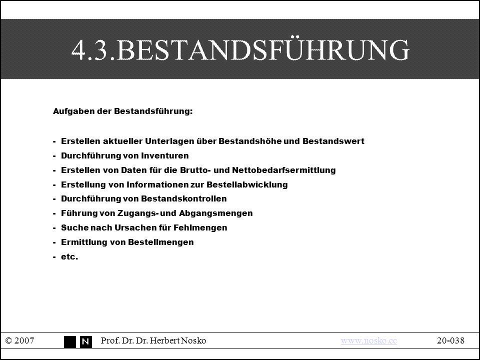 4.3.BESTANDSFÜHRUNG © 2007Prof. Dr. Dr. Herbert Noskowww.nosko.cc20-038www.nosko.cc Aufgaben der Bestandsführung: - Erstellen aktueller Unterlagen übe