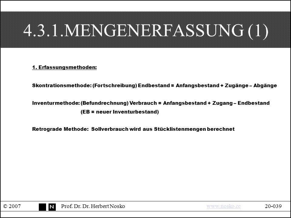 4.3.1.MENGENERFASSUNG (1) © 2007Prof. Dr. Dr. Herbert Noskowww.nosko.cc20-039www.nosko.cc 1. Erfassungsmethoden: Skontrationsmethode: (Fortschreibung)