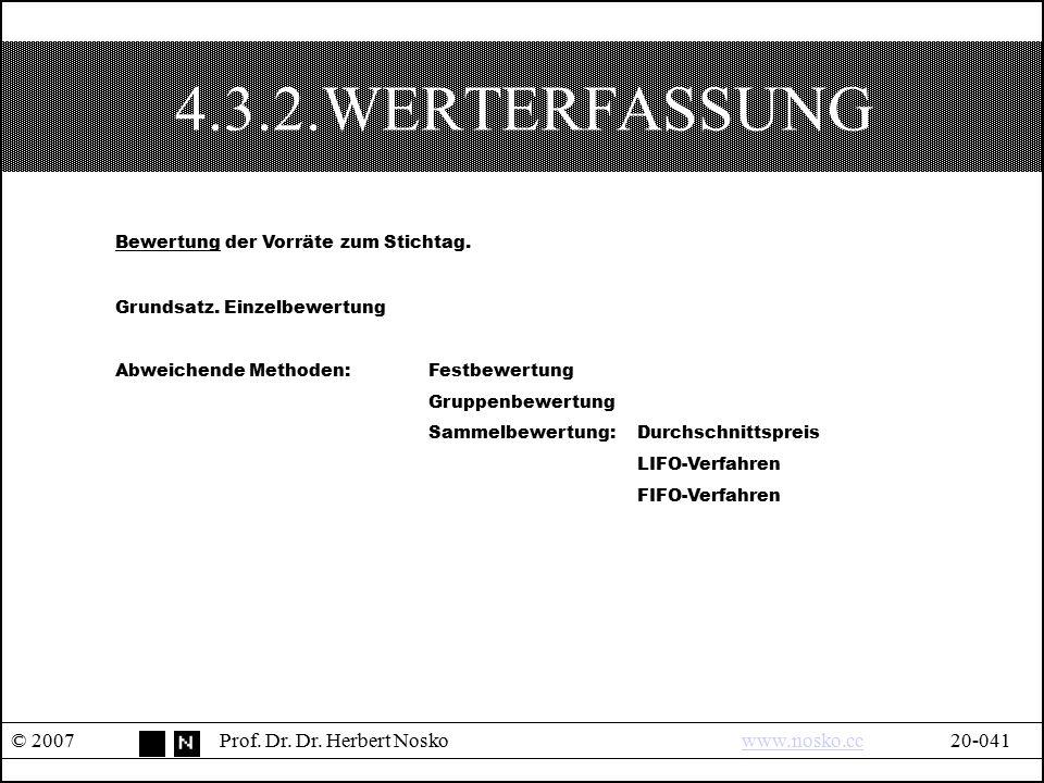 4.3.2.WERTERFASSUNG © 2007Prof. Dr. Dr. Herbert Noskowww.nosko.cc20-041www.nosko.cc Bewertung der Vorräte zum Stichtag. Grundsatz. Einzelbewertung Abw