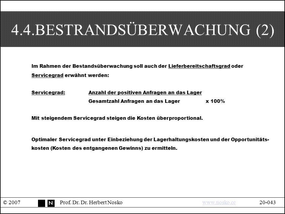 4.4.BESTRANDSÜBERWACHUNG (2) © 2007Prof. Dr. Dr. Herbert Noskowww.nosko.cc20-043www.nosko.cc Im Rahmen der Bestandsüberwachung soll auch der Lieferber