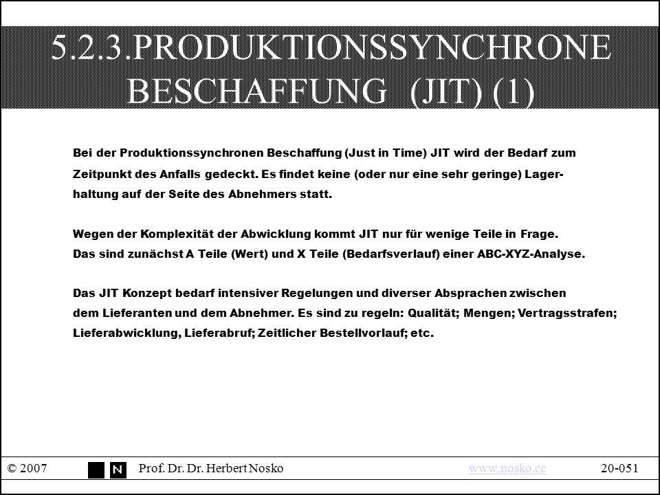 5.2.3.PRODUKTIONSSYNCHRONE BESCHAFFUNG (JIT) (1) © 2007Prof. Dr. Dr. Herbert Noskowww.nosko.cc20-051www.nosko.cc Bei der Produktionssynchronen Beschaf