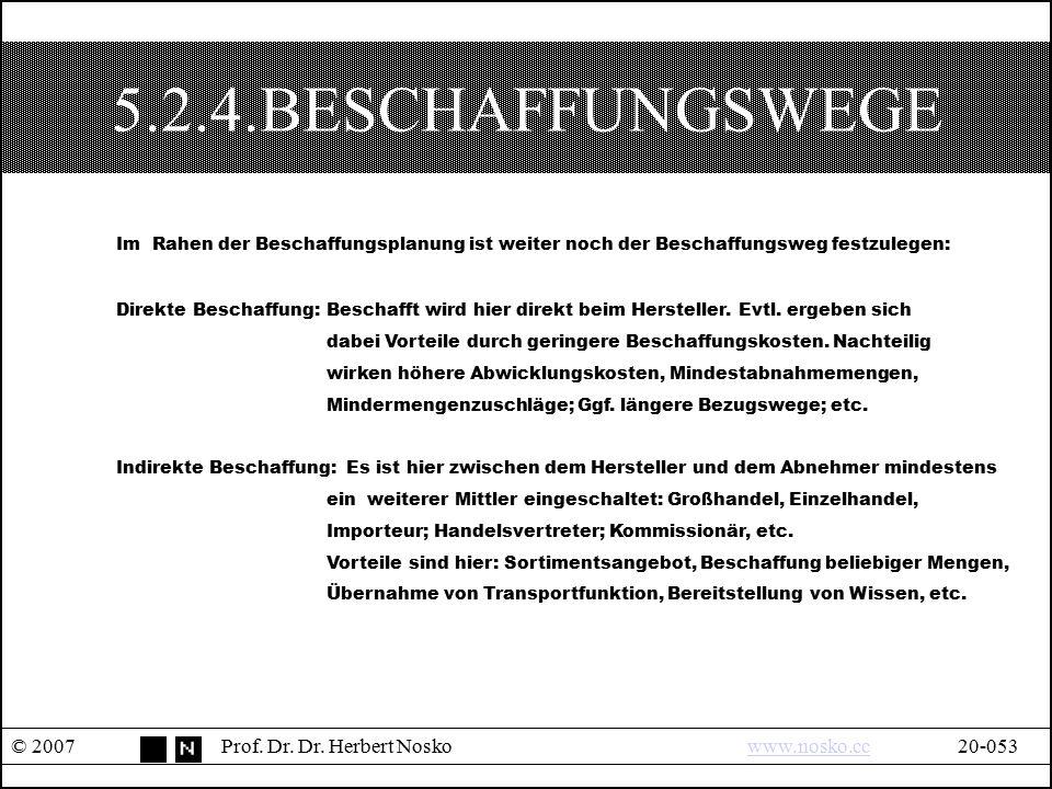 5.2.4.BESCHAFFUNGSWEGE © 2007Prof. Dr. Dr. Herbert Noskowww.nosko.cc20-053www.nosko.cc Im Rahen der Beschaffungsplanung ist weiter noch der Beschaffun