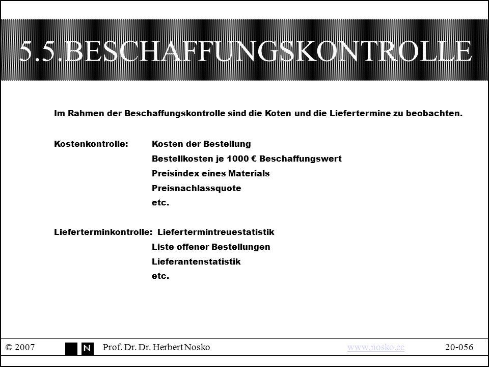 5.5.BESCHAFFUNGSKONTROLLE © 2007Prof. Dr. Dr. Herbert Noskowww.nosko.cc20-056www.nosko.cc Im Rahmen der Beschaffungskontrolle sind die Koten und die L
