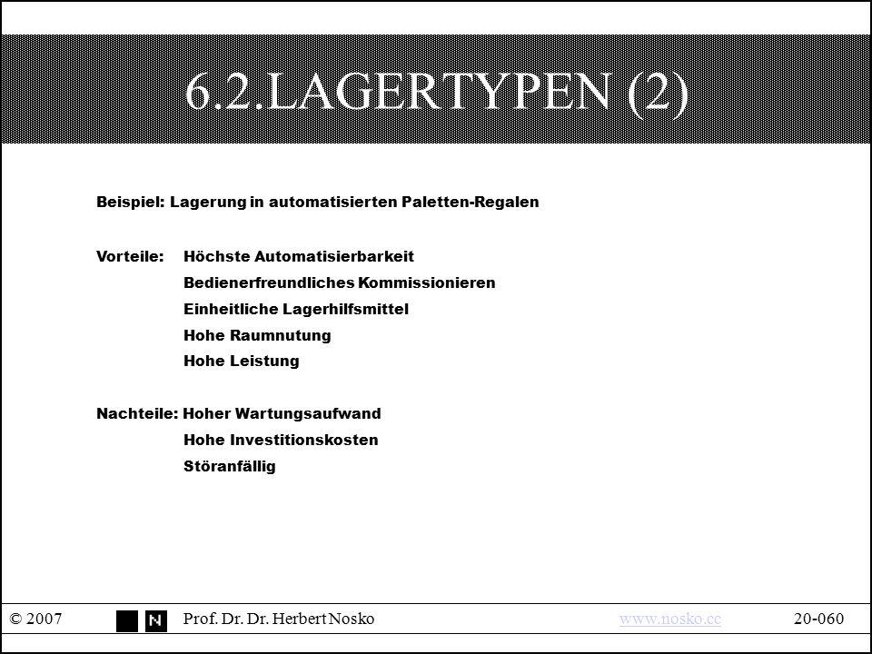 6.2.LAGERTYPEN (2) © 2007Prof. Dr. Dr. Herbert Noskowww.nosko.cc20-060www.nosko.cc Beispiel: Lagerung in automatisierten Paletten-Regalen Vorteile: Hö