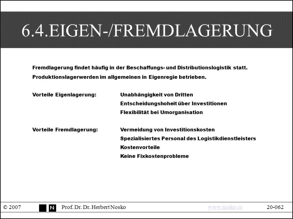 6.4.EIGEN-/FREMDLAGERUNG © 2007Prof. Dr. Dr. Herbert Noskowww.nosko.cc20-062www.nosko.cc Fremdlagerung findet häufig in der Beschaffungs- und Distribu