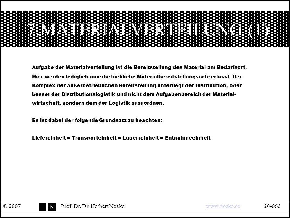 7.MATERIALVERTEILUNG (1) © 2007Prof. Dr. Dr. Herbert Noskowww.nosko.cc20-063www.nosko.cc Aufgabe der Materialverteilung ist die Bereitstellung des Mat
