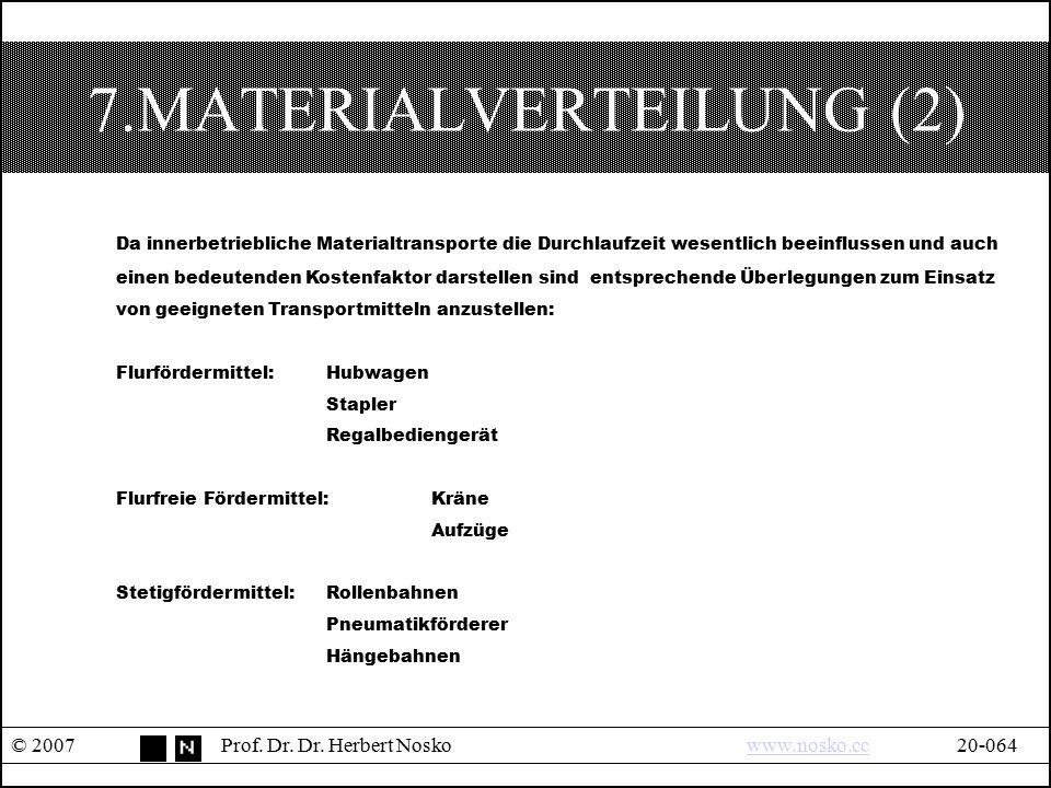 7.MATERIALVERTEILUNG (2) © 2007Prof. Dr. Dr. Herbert Noskowww.nosko.cc20-064www.nosko.cc Da innerbetriebliche Materialtransporte die Durchlaufzeit wes