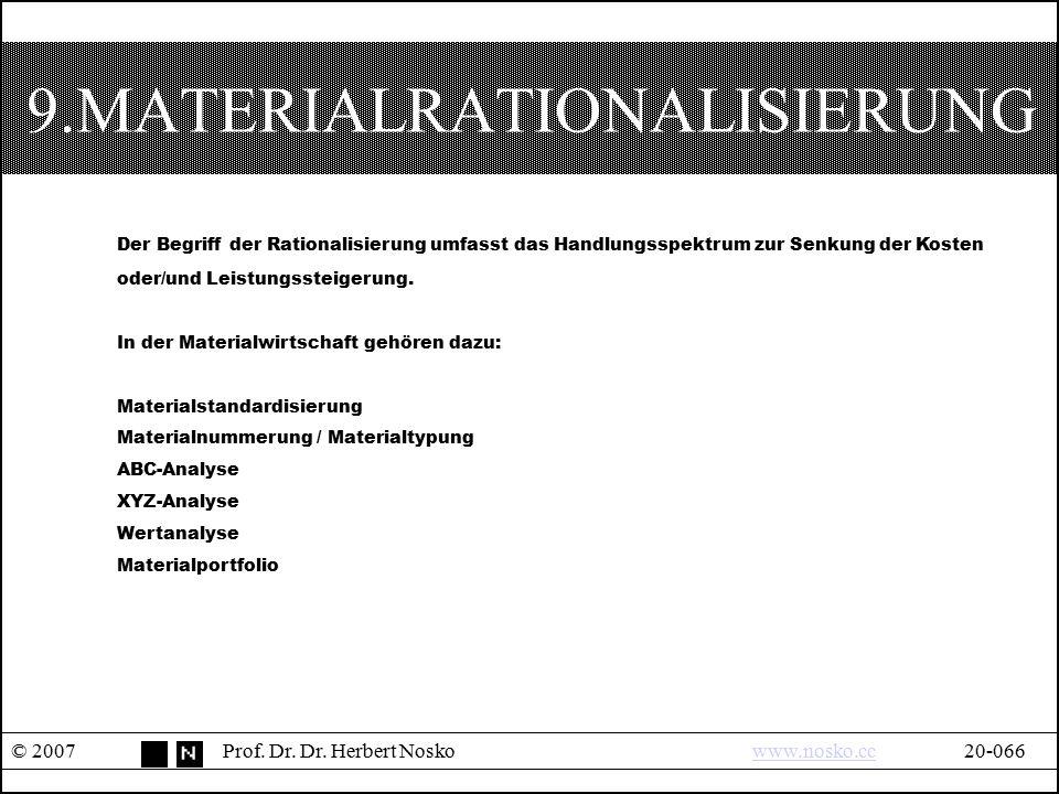 9.MATERIALRATIONALISIERUNG © 2007Prof. Dr. Dr. Herbert Noskowww.nosko.cc20-066www.nosko.cc Der Begriff der Rationalisierung umfasst das Handlungsspekt