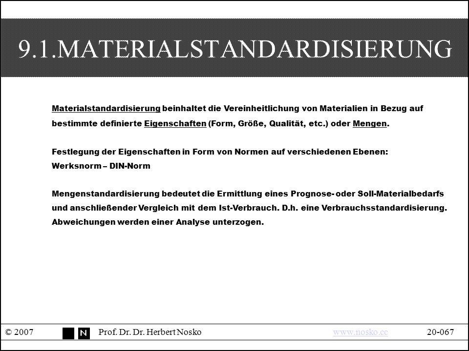 9.1.MATERIALSTANDARDISIERUNG © 2007Prof. Dr. Dr. Herbert Noskowww.nosko.cc20-067www.nosko.cc Materialstandardisierung beinhaltet die Vereinheitlichung