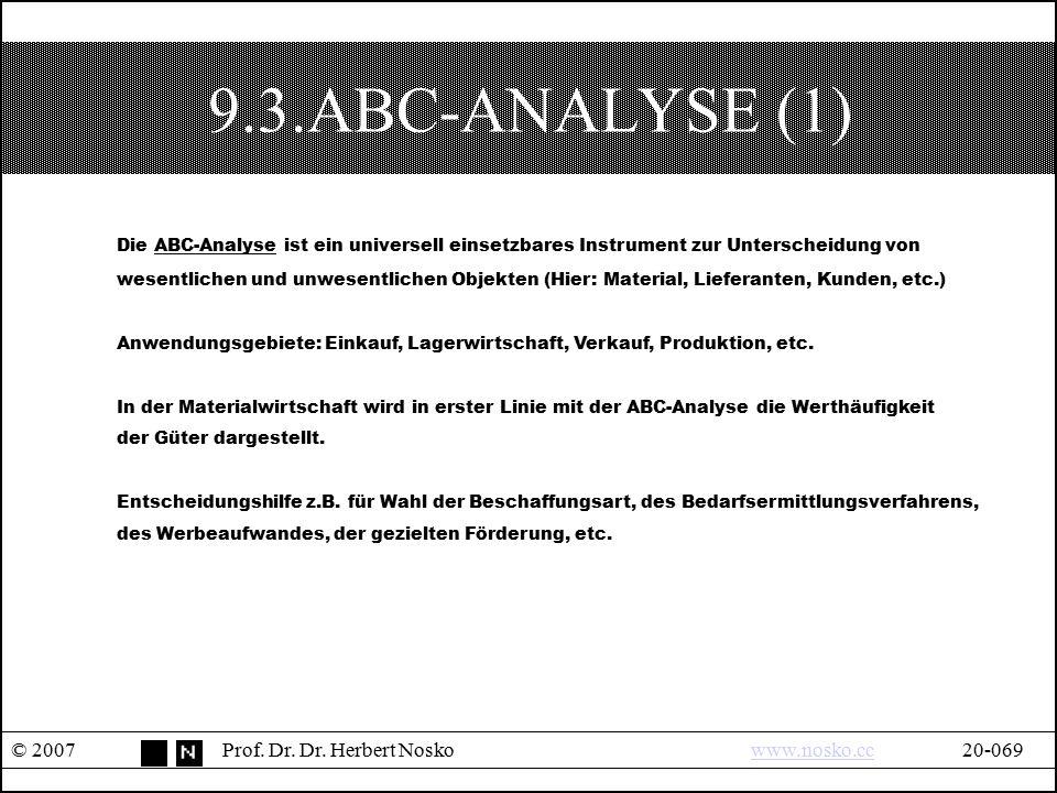 9.3.ABC-ANALYSE (1) © 2007Prof. Dr. Dr. Herbert Noskowww.nosko.cc20-069www.nosko.cc Die ABC-Analyse ist ein universell einsetzbares Instrument zur Unt
