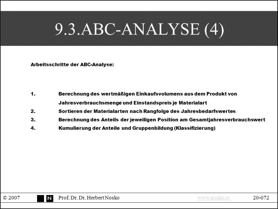9.3.ABC-ANALYSE (4) © 2007Prof. Dr. Dr. Herbert Noskowww.nosko.cc20-072www.nosko.cc Arbeitsschritte der ABC-Analyse: 1.Berechnung des wertmäßigen Eink