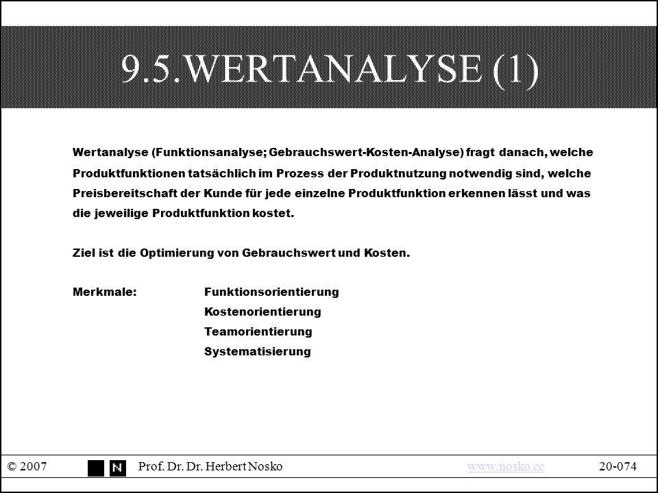 9.5.WERTANALYSE (1) © 2007Prof. Dr. Dr. Herbert Noskowww.nosko.cc20-074www.nosko.cc Wertanalyse (Funktionsanalyse; Gebrauchswert-Kosten-Analyse) fragt