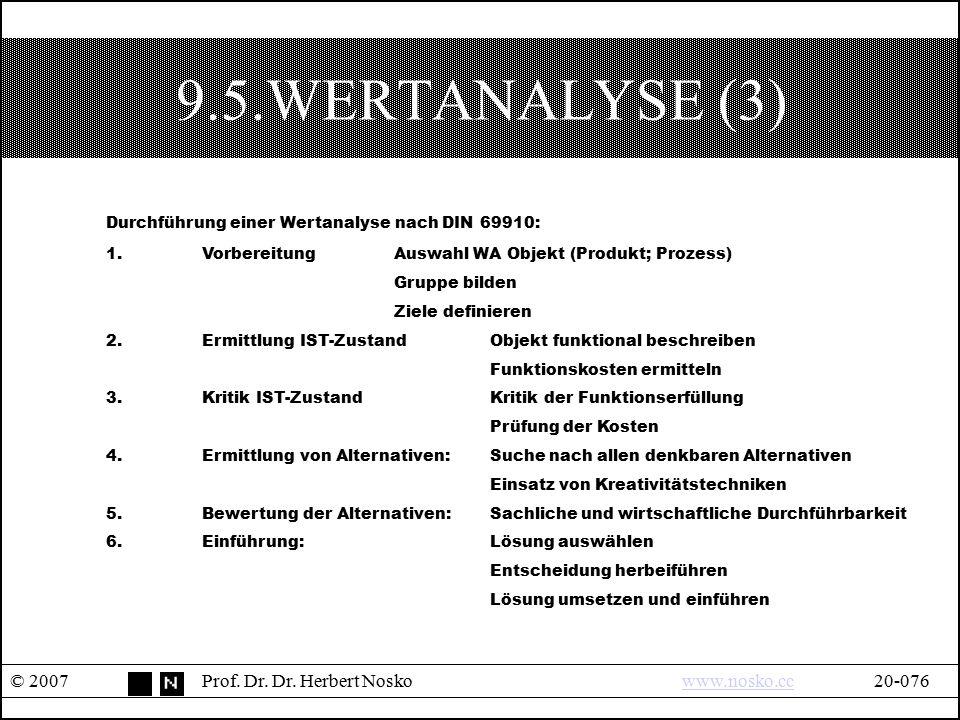 9.5.WERTANALYSE (3) © 2007Prof. Dr. Dr. Herbert Noskowww.nosko.cc20-076www.nosko.cc Durchführung einer Wertanalyse nach DIN 69910: 1.VorbereitungAuswa