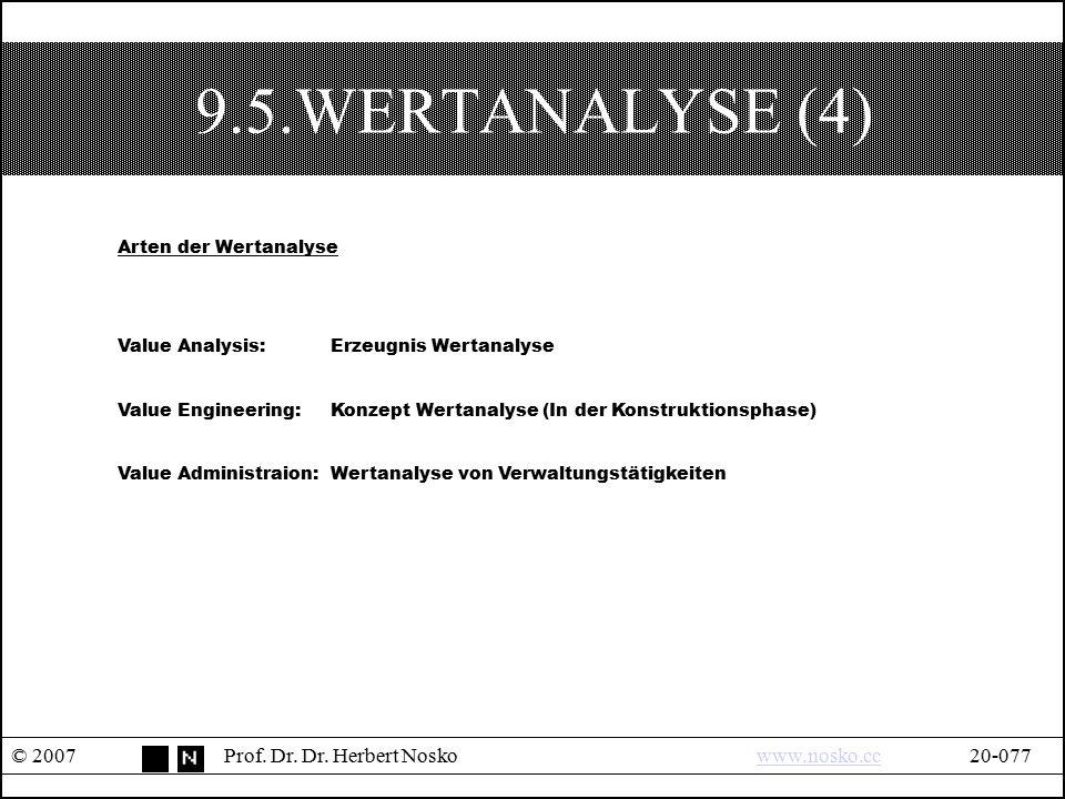 9.5.WERTANALYSE (4) © 2007Prof. Dr. Dr. Herbert Noskowww.nosko.cc20-077www.nosko.cc Arten der Wertanalyse Value Analysis:Erzeugnis Wertanalyse Value E