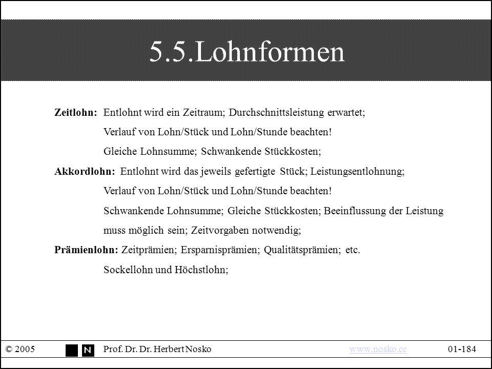 5.5.Lohnformen © 2005Prof. Dr. Dr. Herbert Noskowww.nosko.cc01-184www.nosko.cc Zeitlohn: Entlohnt wird ein Zeitraum; Durchschnittsleistung erwartet; V