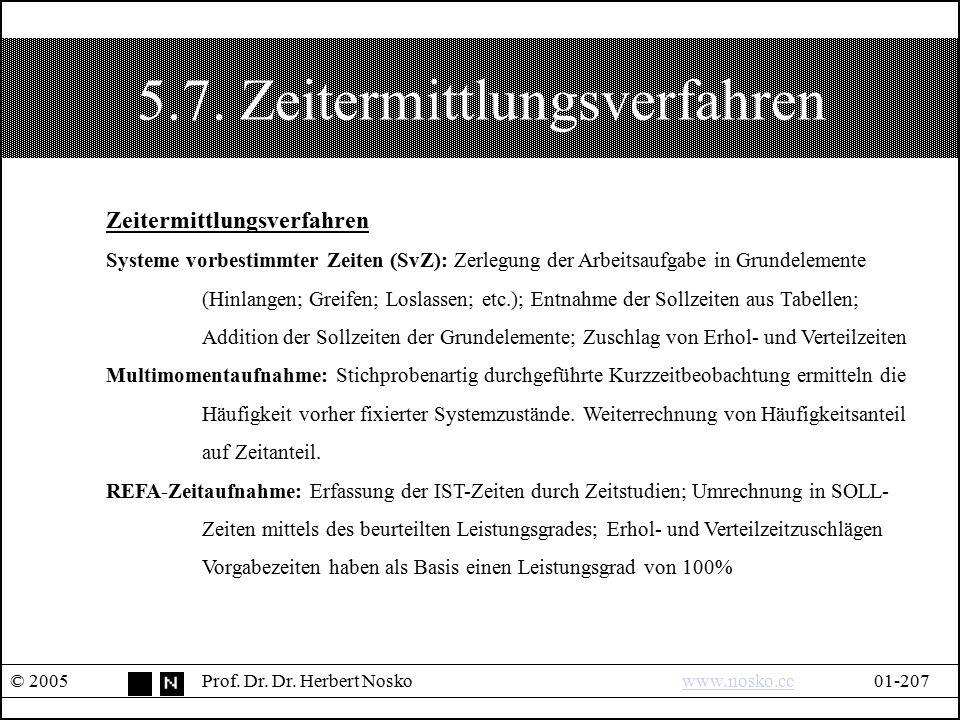 5.7. Zeitermittlungsverfahren © 2005Prof. Dr. Dr. Herbert Noskowww.nosko.cc01-207www.nosko.cc Zeitermittlungsverfahren Systeme vorbestimmter Zeiten (S