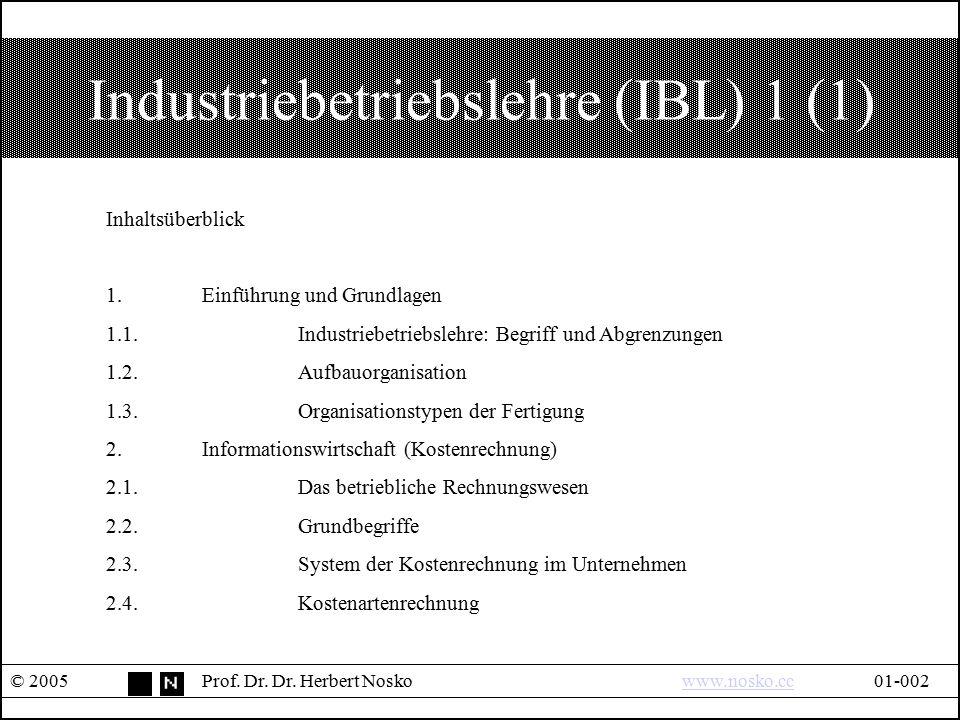 Industriebetriebslehre (IBL) 1 (1) © 2005Prof. Dr. Dr. Herbert Noskowww.nosko.cc01-002www.nosko.cc Inhaltsüberblick 1.Einführung und Grundlagen 1.1.In