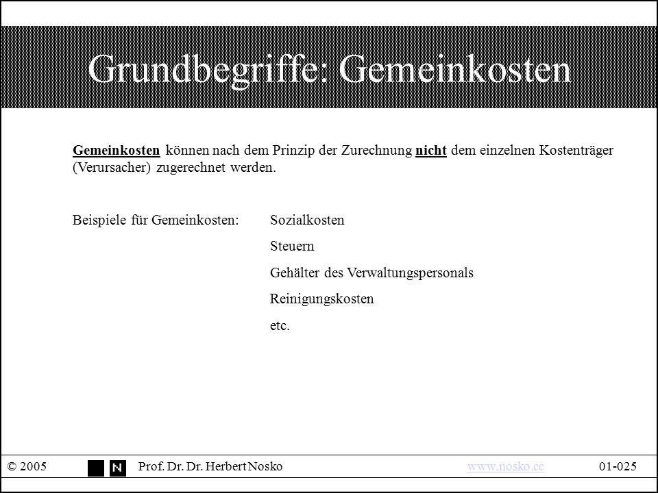 Grundbegriffe: Gemeinkosten © 2005Prof. Dr. Dr. Herbert Noskowww.nosko.cc01-025www.nosko.cc Gemeinkosten können nach dem Prinzip der Zurechnung nicht
