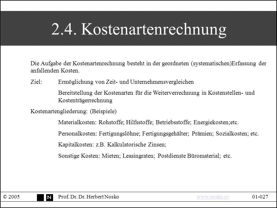 2.4. Kostenartenrechnung © 2005Prof. Dr. Dr. Herbert Noskowww.nosko.cc01-027www.nosko.cc Die Aufgabe der Kostenartenrechnung besteht in der geordneten