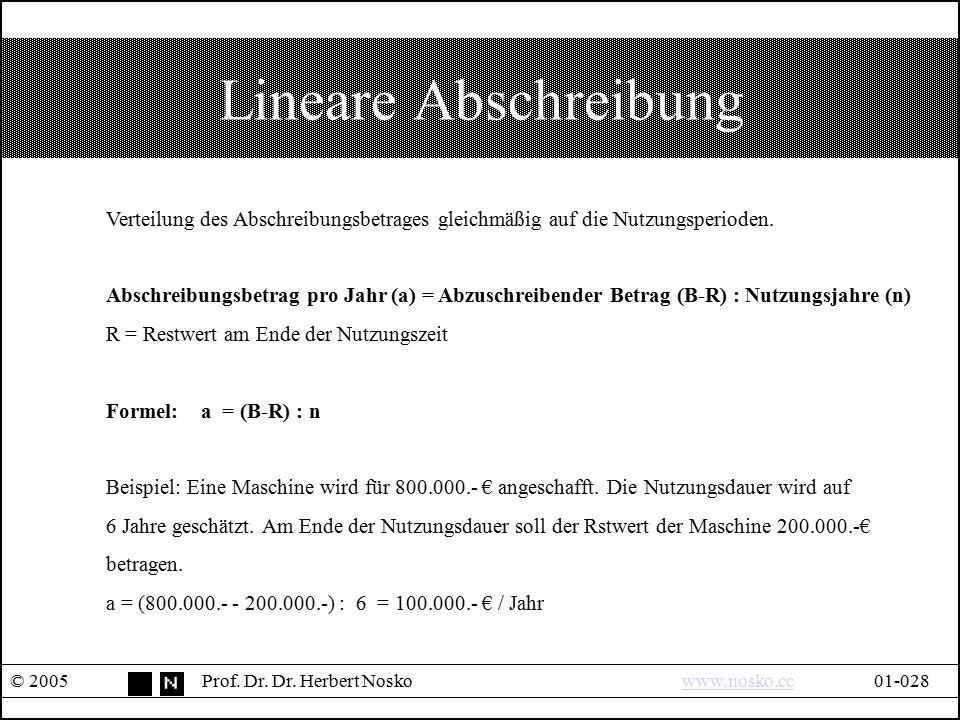 Lineare Abschreibung © 2005Prof. Dr. Dr. Herbert Noskowww.nosko.cc01-028www.nosko.cc Verteilung des Abschreibungsbetrages gleichmäßig auf die Nutzungs