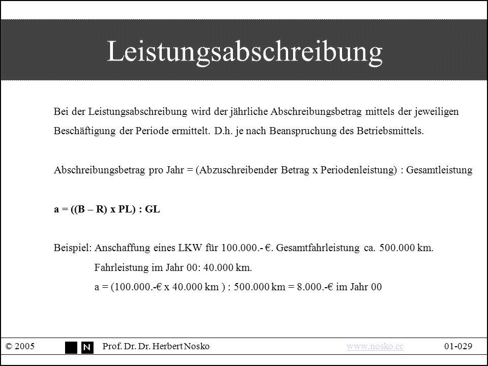 Leistungsabschreibung © 2005Prof. Dr. Dr. Herbert Noskowww.nosko.cc01-029www.nosko.cc Bei der Leistungsabschreibung wird der jährliche Abschreibungsbe