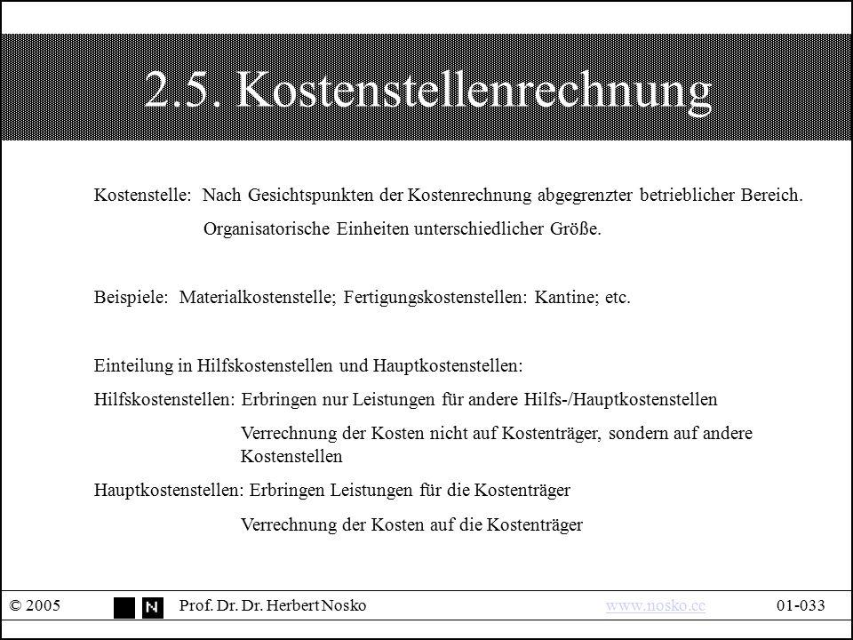 2.5. Kostenstellenrechnung © 2005Prof. Dr. Dr. Herbert Noskowww.nosko.cc01-033www.nosko.cc Kostenstelle: Nach Gesichtspunkten der Kostenrechnung abgeg