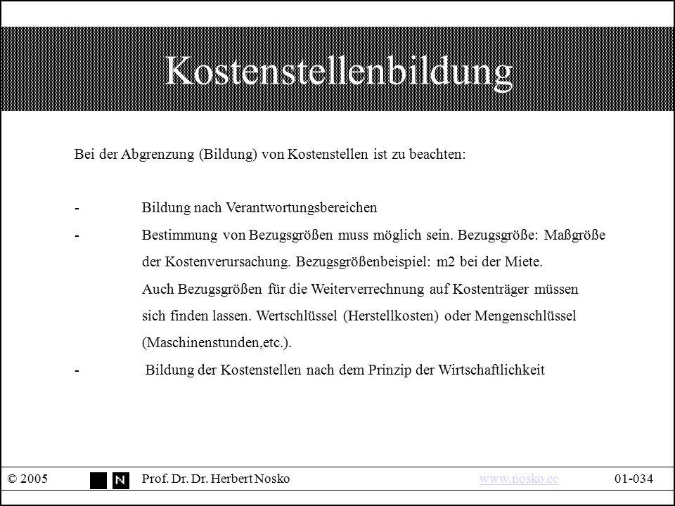 Kostenstellenbildung © 2005Prof. Dr. Dr. Herbert Noskowww.nosko.cc01-034www.nosko.cc Bei der Abgrenzung (Bildung) von Kostenstellen ist zu beachten: -