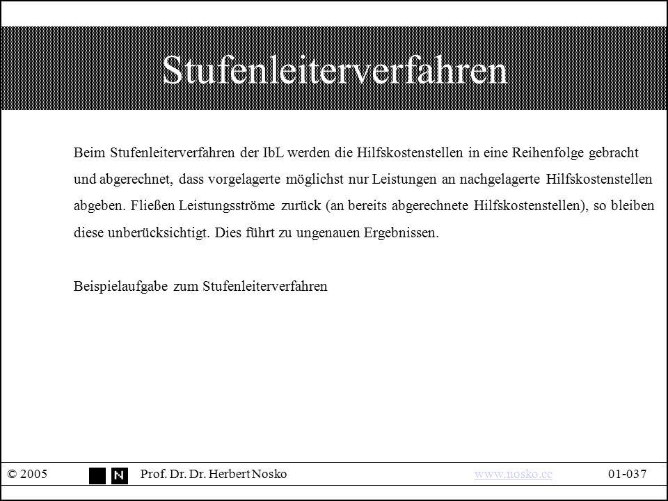 Stufenleiterverfahren © 2005Prof. Dr. Dr. Herbert Noskowww.nosko.cc01-037www.nosko.cc Beim Stufenleiterverfahren der IbL werden die Hilfskostenstellen