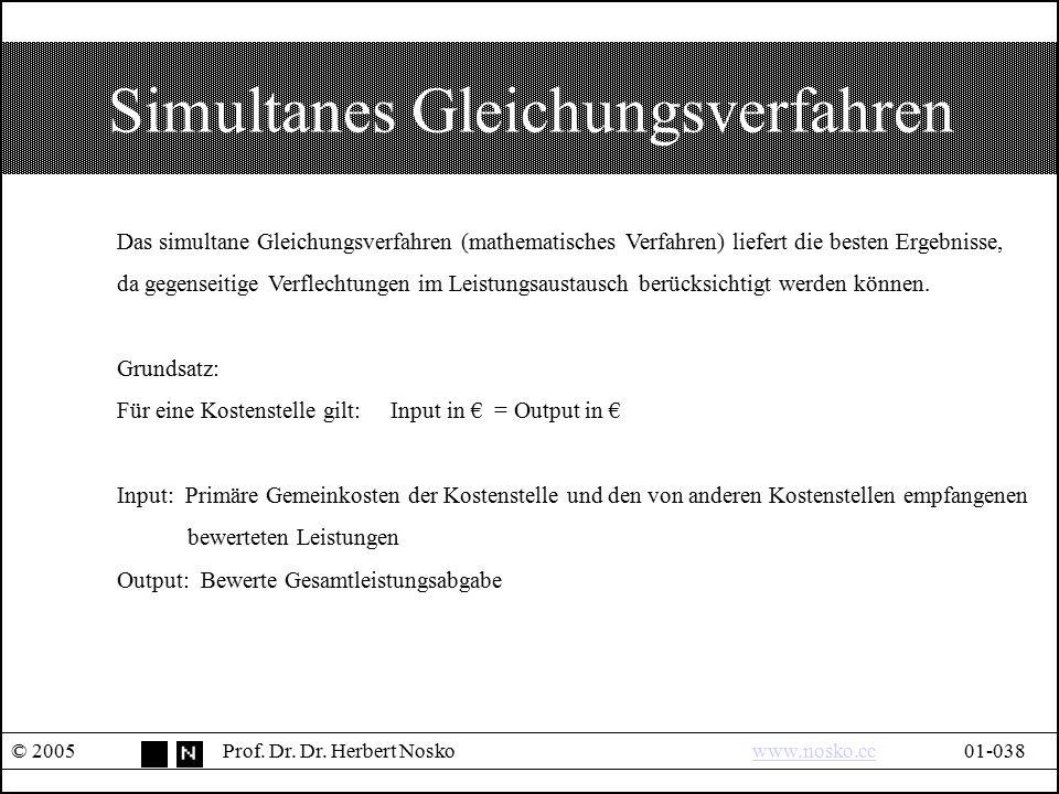 Simultanes Gleichungsverfahren © 2005Prof. Dr. Dr. Herbert Noskowww.nosko.cc01-038www.nosko.cc Das simultane Gleichungsverfahren (mathematisches Verfa