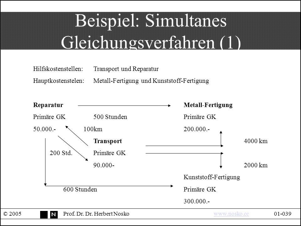 Beispiel: Simultanes Gleichungsverfahren (1) © 2005Prof. Dr. Dr. Herbert Noskowww.nosko.cc01-039www.nosko.cc Hilfskostenstellen: Transport und Reparat