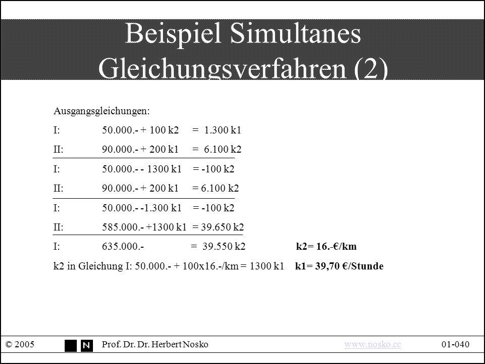 Beispiel Simultanes Gleichungsverfahren (2) © 2005Prof. Dr. Dr. Herbert Noskowww.nosko.cc01-040www.nosko.cc Ausgangsgleichungen: I:50.000.- + 100 k2 =