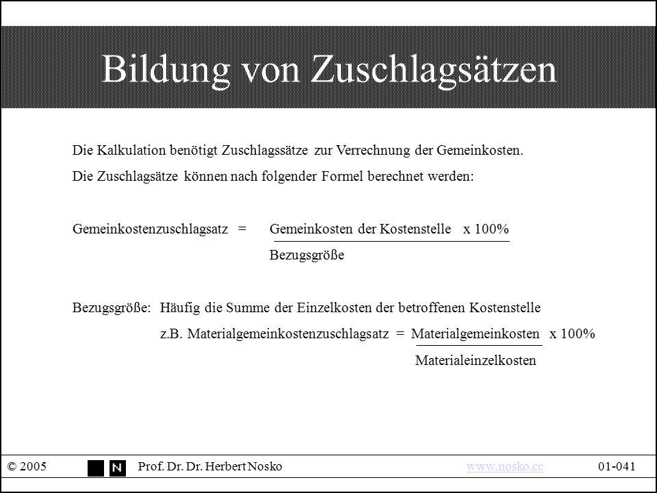 Bildung von Zuschlagsätzen © 2005Prof. Dr. Dr. Herbert Noskowww.nosko.cc01-041www.nosko.cc Die Kalkulation benötigt Zuschlagssätze zur Verrechnung der