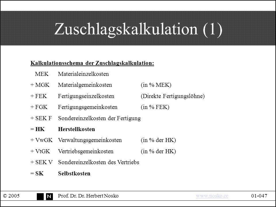 Zuschlagskalkulation (1) © 2005Prof. Dr. Dr. Herbert Noskowww.nosko.cc01-047www.nosko.cc Kalkulationsschema der Zuschlagskalkulation: MEKMaterialeinze