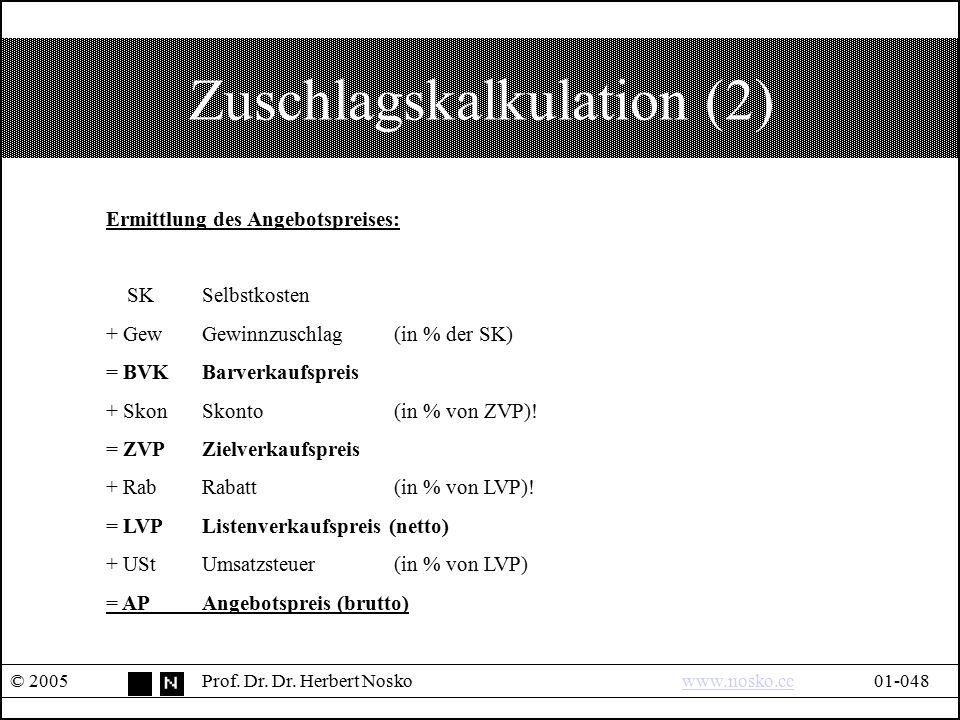Zuschlagskalkulation (2) © 2005Prof. Dr. Dr. Herbert Noskowww.nosko.cc01-048www.nosko.cc Ermittlung des Angebotspreises: SKSelbstkosten + GewGewinnzus