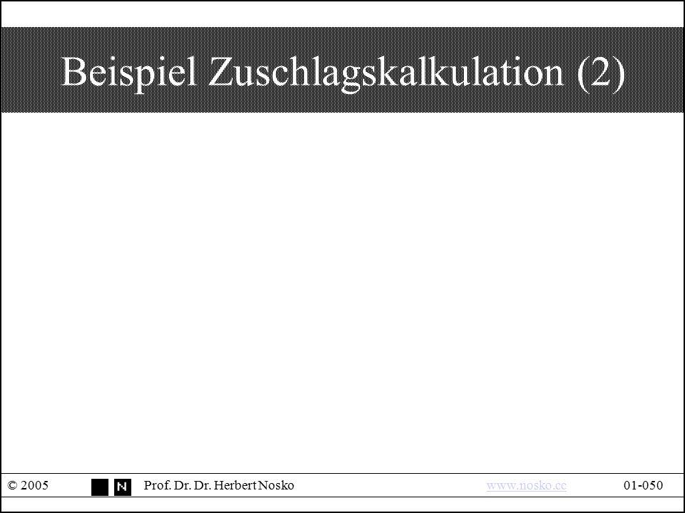 Beispiel Zuschlagskalkulation (2) © 2005Prof. Dr. Dr. Herbert Noskowww.nosko.cc01-050www.nosko.cc