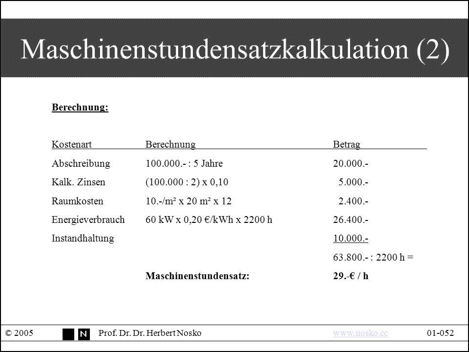 Maschinenstundensatzkalkulation (2) © 2005Prof. Dr. Dr. Herbert Noskowww.nosko.cc01-052www.nosko.cc Berechnung: KostenartBerechnung Betrag Abschreibun