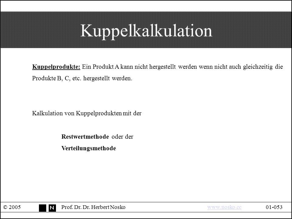 Kuppelkalkulation © 2005Prof. Dr. Dr. Herbert Noskowww.nosko.cc01-053www.nosko.cc Kuppelprodukte: Ein Produkt A kann nicht hergestellt werden wenn nic