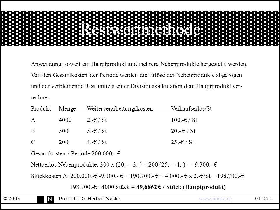 Restwertmethode © 2005Prof. Dr. Dr. Herbert Noskowww.nosko.cc01-054www.nosko.cc Anwendung, soweit ein Hauptprodukt und mehrere Nebenprodukte hergestel