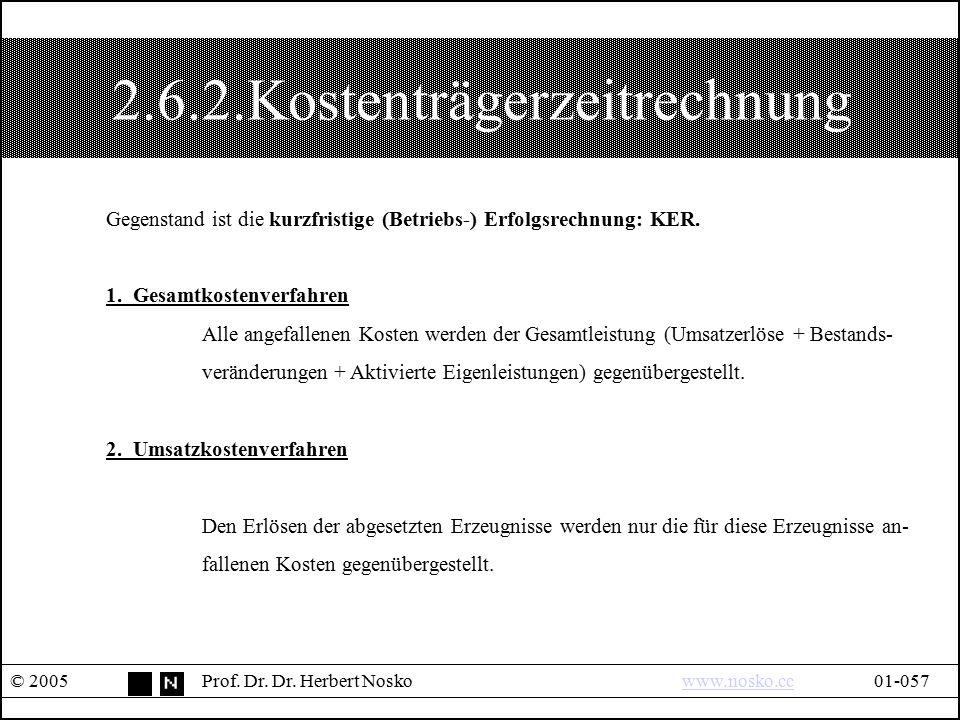2.6.2.Kostenträgerzeitrechnung © 2005Prof. Dr. Dr. Herbert Noskowww.nosko.cc01-057www.nosko.cc Gegenstand ist die kurzfristige (Betriebs-) Erfolgsrech