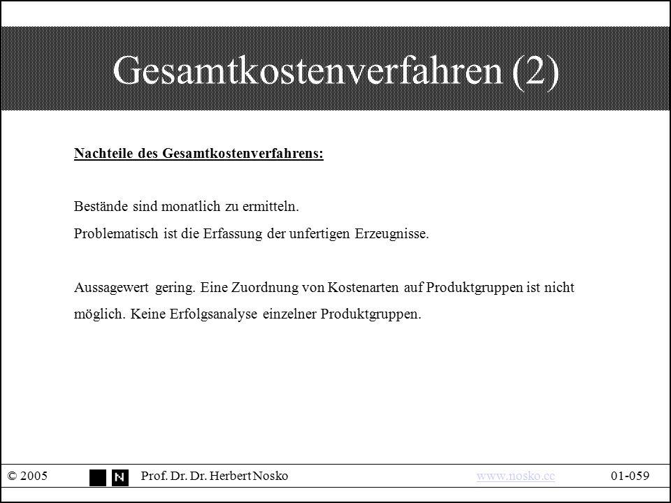 Gesamtkostenverfahren (2) © 2005Prof. Dr. Dr. Herbert Noskowww.nosko.cc01-059www.nosko.cc Nachteile des Gesamtkostenverfahrens: Bestände sind monatlic