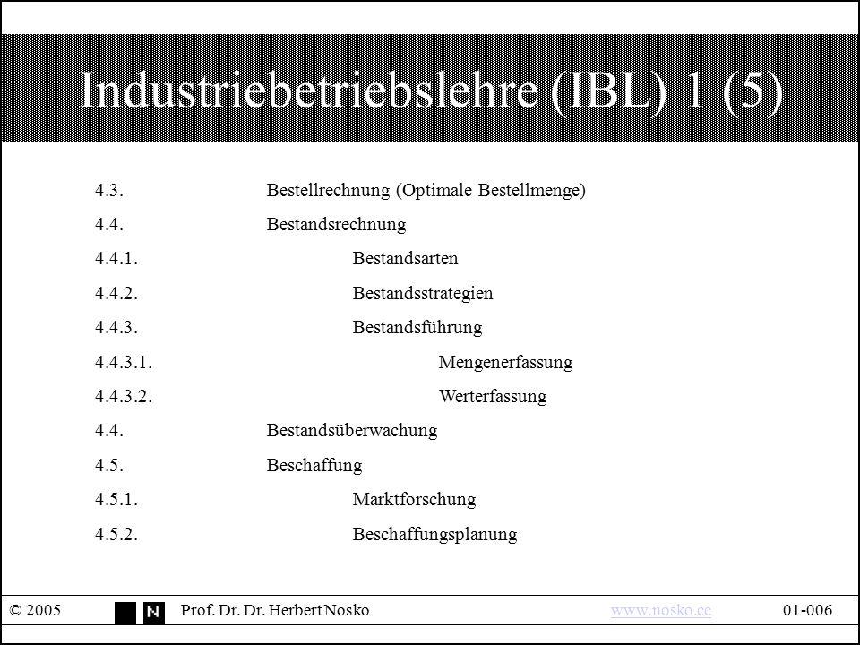 Industriebetriebslehre (IBL) 1 (5) © 2005Prof. Dr. Dr. Herbert Noskowww.nosko.cc01-006www.nosko.cc 4.3.Bestellrechnung (Optimale Bestellmenge) 4.4.Bes