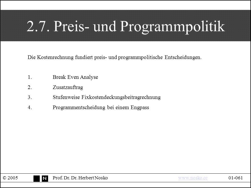 2.7. Preis- und Programmpolitik © 2005Prof. Dr. Dr. Herbert Noskowww.nosko.cc01-061www.nosko.cc Die Kostenrechnung fundiert preis- und programmpolitis
