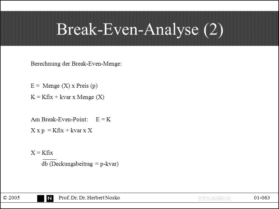 Break-Even-Analyse (2) © 2005Prof. Dr. Dr. Herbert Noskowww.nosko.cc01-063www.nosko.cc Berechnung der Break-Even-Menge: E = Menge (X) x Preis (p) K =