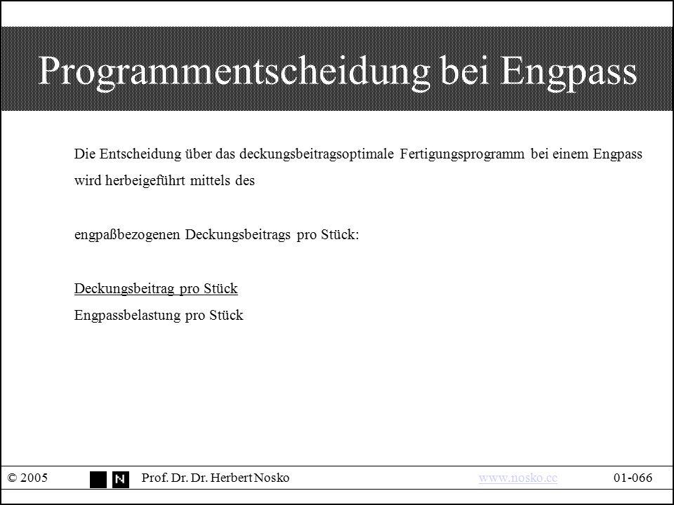 Programmentscheidung bei Engpass © 2005Prof. Dr. Dr. Herbert Noskowww.nosko.cc01-066www.nosko.cc Die Entscheidung über das deckungsbeitragsoptimale Fe