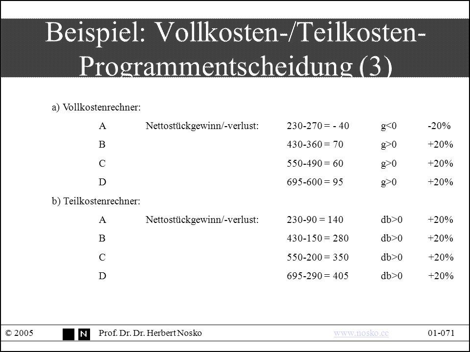 Beispiel: Vollkosten-/Teilkosten- Programmentscheidung (3) © 2005Prof. Dr. Dr. Herbert Noskowww.nosko.cc01-071www.nosko.cc a) Vollkostenrechner: ANett