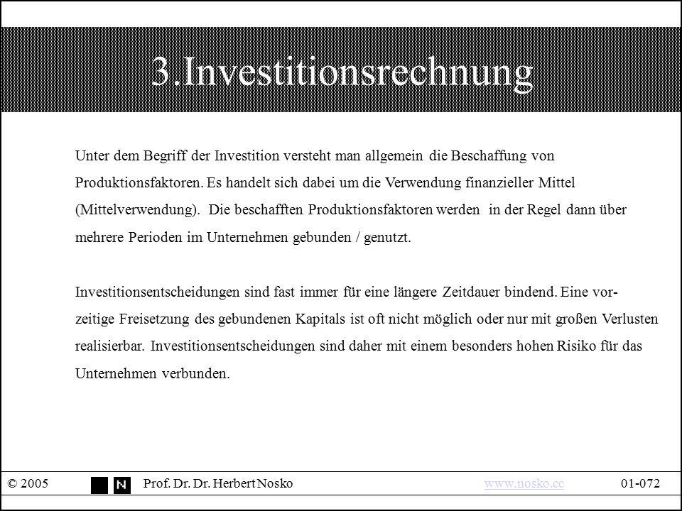 3.Investitionsrechnung © 2005Prof. Dr. Dr. Herbert Noskowww.nosko.cc01-072www.nosko.cc Unter dem Begriff der Investition versteht man allgemein die Be