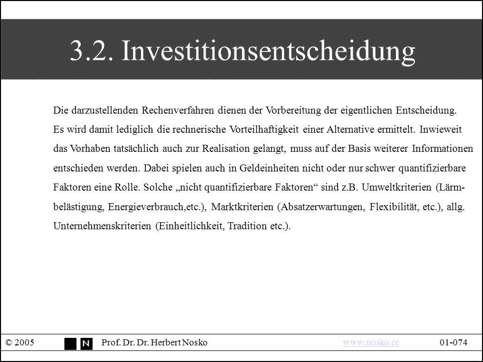 3.2. Investitionsentscheidung © 2005Prof. Dr. Dr. Herbert Noskowww.nosko.cc01-074www.nosko.cc Die darzustellenden Rechenverfahren dienen der Vorbereit