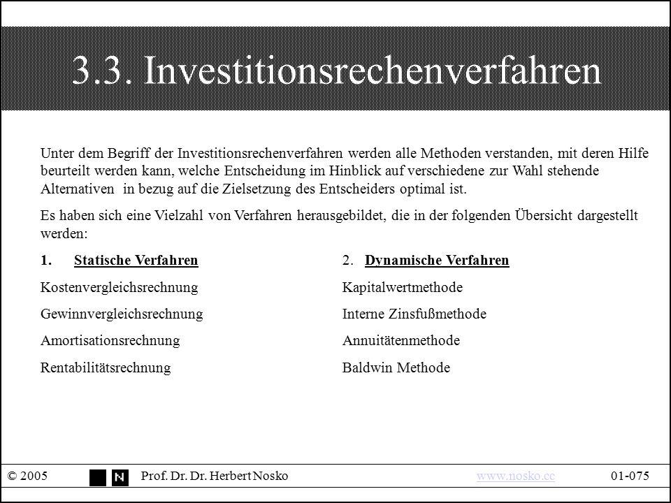 3.3. Investitionsrechenverfahren © 2005Prof. Dr. Dr. Herbert Noskowww.nosko.cc01-075www.nosko.cc Unter dem Begriff der Investitionsrechenverfahren wer