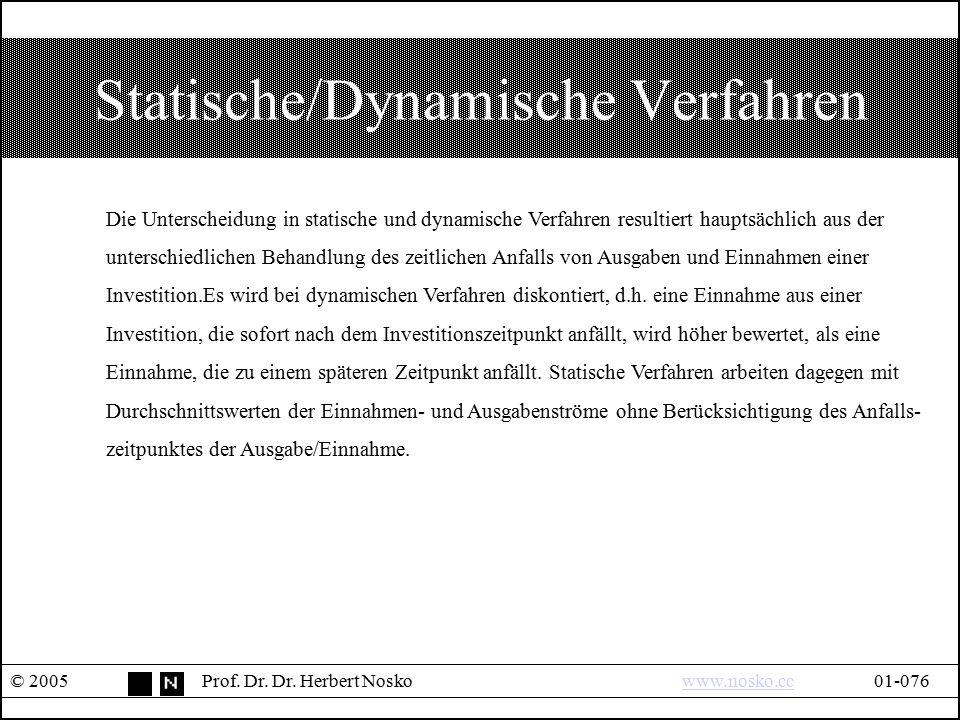 Statische/Dynamische Verfahren © 2005Prof. Dr. Dr. Herbert Noskowww.nosko.cc01-076www.nosko.cc Die Unterscheidung in statische und dynamische Verfahre